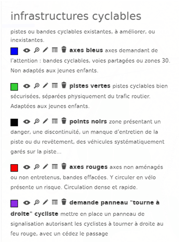 Légende carte infrastructures cyclables Nice