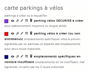 Légende carte parking vélo Nice